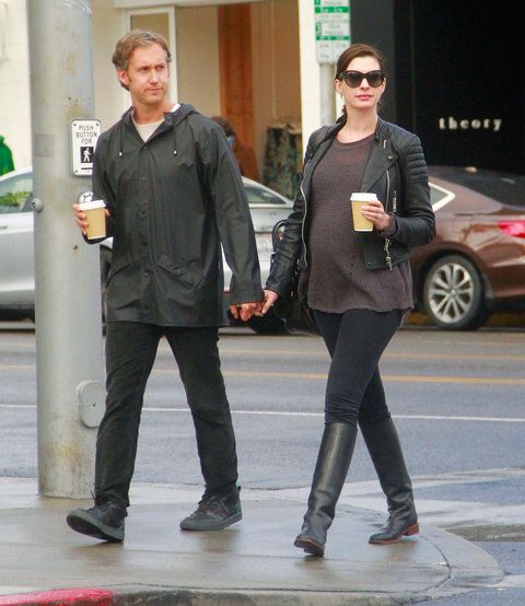 Anne Hathaway and Adam Shulman grabs lunch at Cafe M in Beverly Hills, CA.