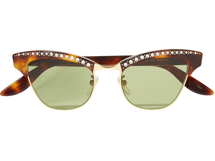 Crystal embellished gold-tone sunglasses