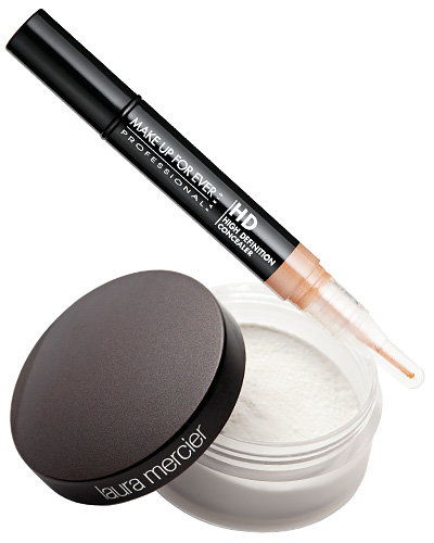 laura Mercier Secret Brightening powder; Make Up For Ever HD Invisible Cover concealer