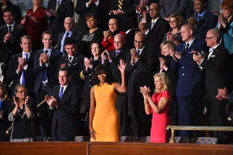 najprv Lady Michelle Obama before US President Barack Obama delivers his State of the Union address before a joint session of Congress on January 12, 2016 at the US Capitol in Washington, DC.