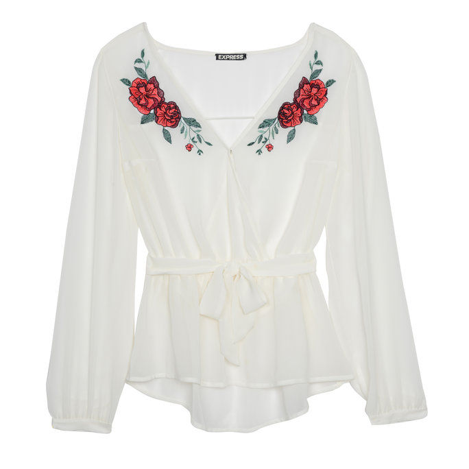 petite Embroidered Blouse