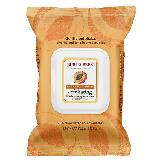Burt's Bees Peach & Willowbark Exfoliating Facial Cleansing Cloths