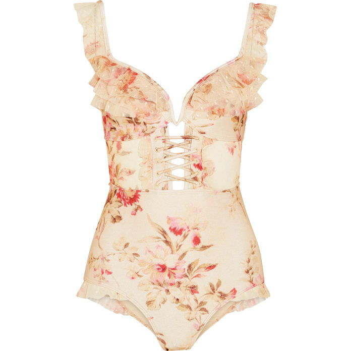 Corsaro Ruffled Foral-Print Swimsuit