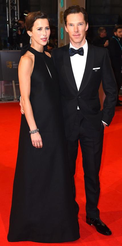 Sophie Hunter in a black halterneck gown and Benedict Cumberbatch in a tuxedo.