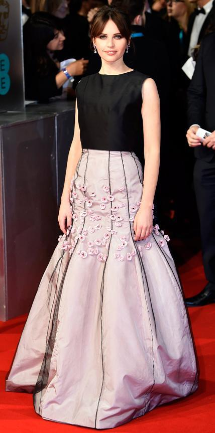 Felicita Jones in a black and lilac gown.