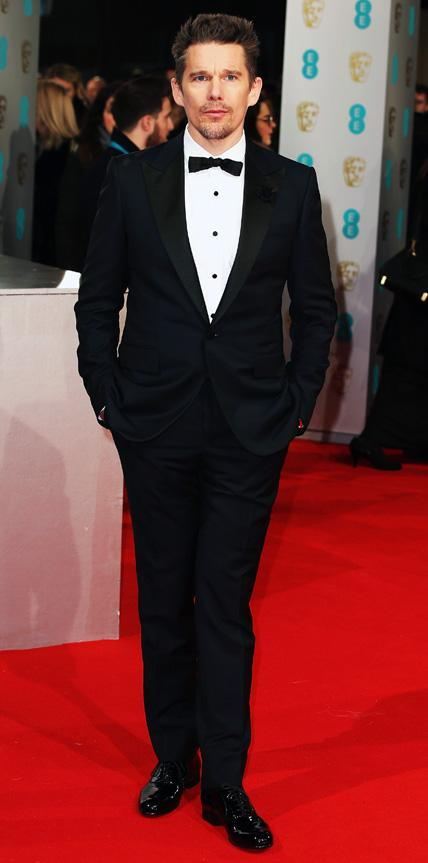 Ethan Hawke in a midnight blue Lanvin tuxedo.