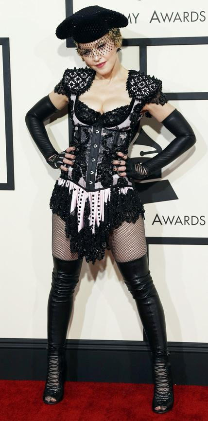 madona arrives at the 57th annual Grammy Awards in Los Angeles