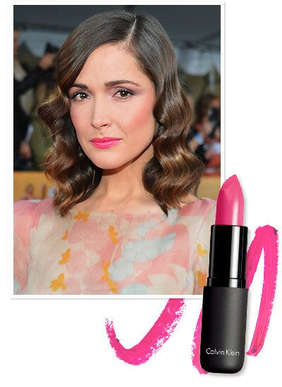 Rosa Byrne's hot pink lipstick inspired by her pastel, floral dress