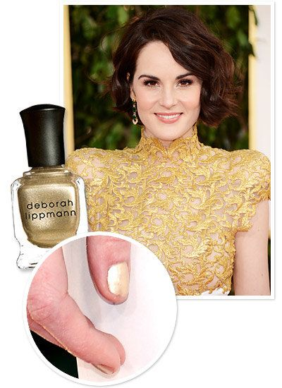 Michelle Dockery's Gilded Nails at the Golden Globe Awards