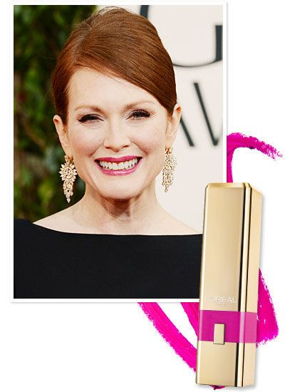 Julianne Moore's pop-of-color lip at the Golden Globe Awards