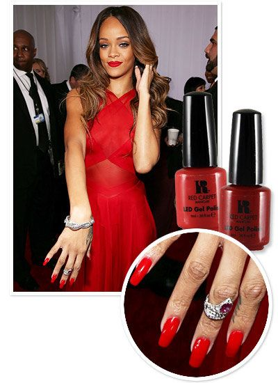 Rihanna's Red Grammy mani matched perfectly with her bright red dress