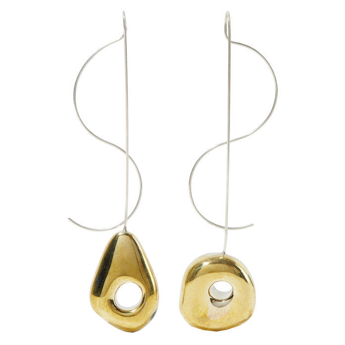 biely Bronze Gold Tone Silver Earrings
