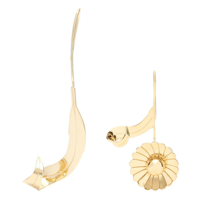 lesklý Gold Brass Daisy Earrings
