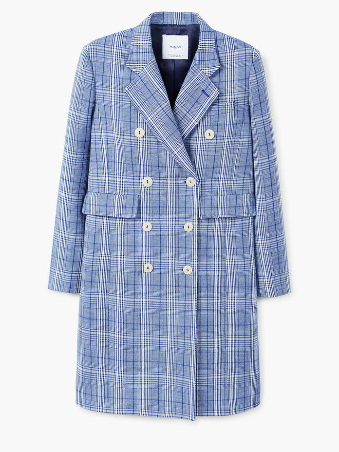 dvojradový CHECKED STRUCTURED COAT