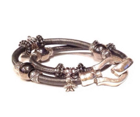 Mack and Jane Leather and Silver Bracelet