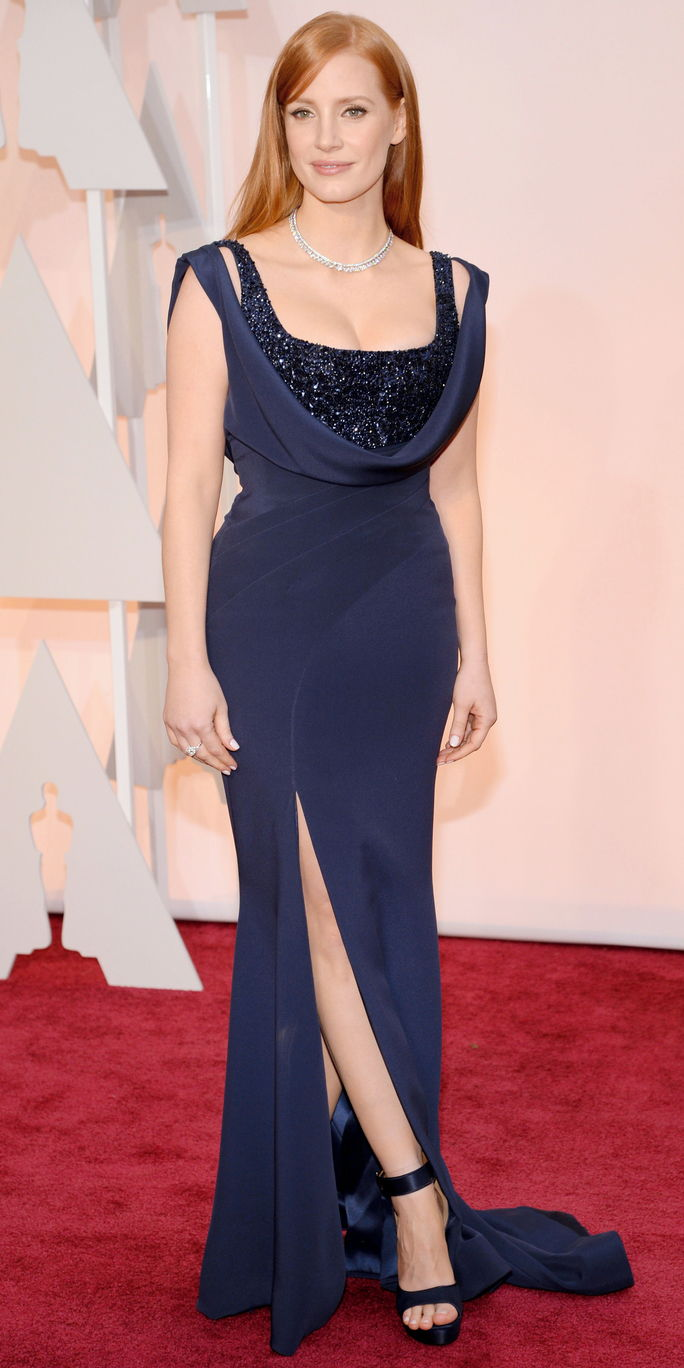 Jessica Chastain in a navy blue gown