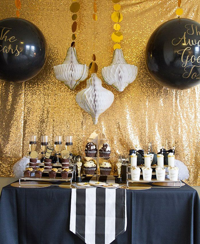 A Tuxedo Black and Gold Oscars Party