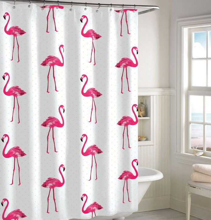 Merah jambu Flamingo Shower Curtain