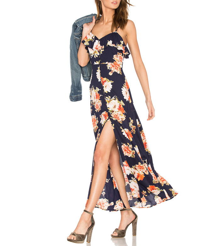 pruh of Gypsies Button Front Floral Maxi Dress