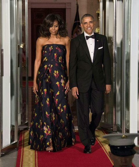 NOI President Barack Obama and First Lady Michelle Obama walk out to greet Canadian Prime Minister Justin Trudeau and his wife Sophie Gregoire Trudeau for a State Dinner in their honor at the White House in Washington, DC, on March 10, 2016.