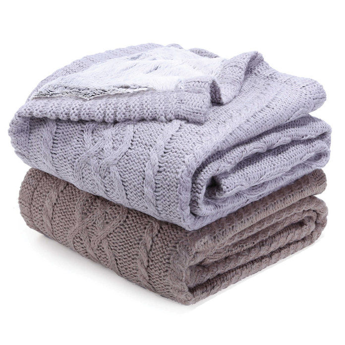 Berkshire Reversible Sweaterknit and Faux Fur Blanket