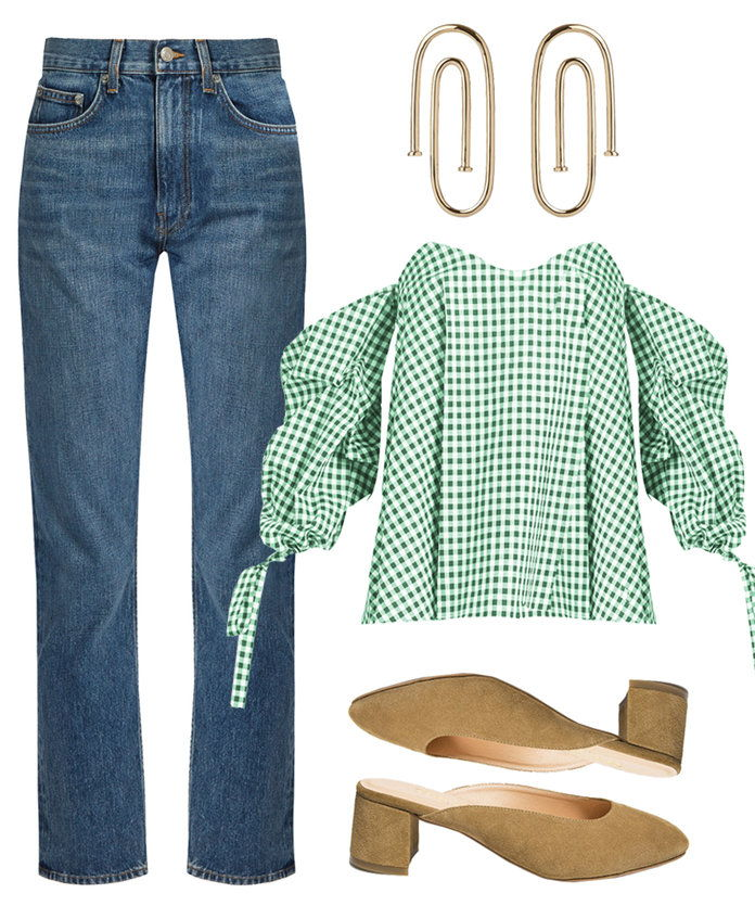 An off -the-shoulder gingham top is the perfect pairing for jeans.