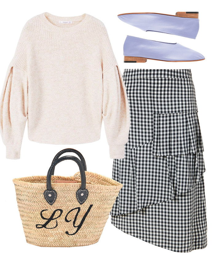 Pergi lady-like in a gingham skirt with ruffle detail.