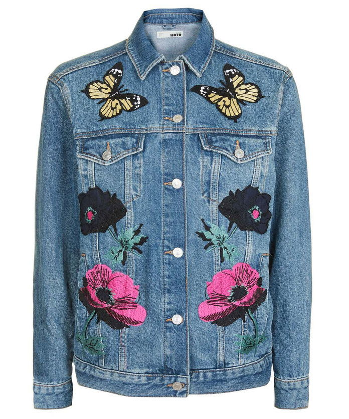 Celebrare summer in this denim appliqué jacket.