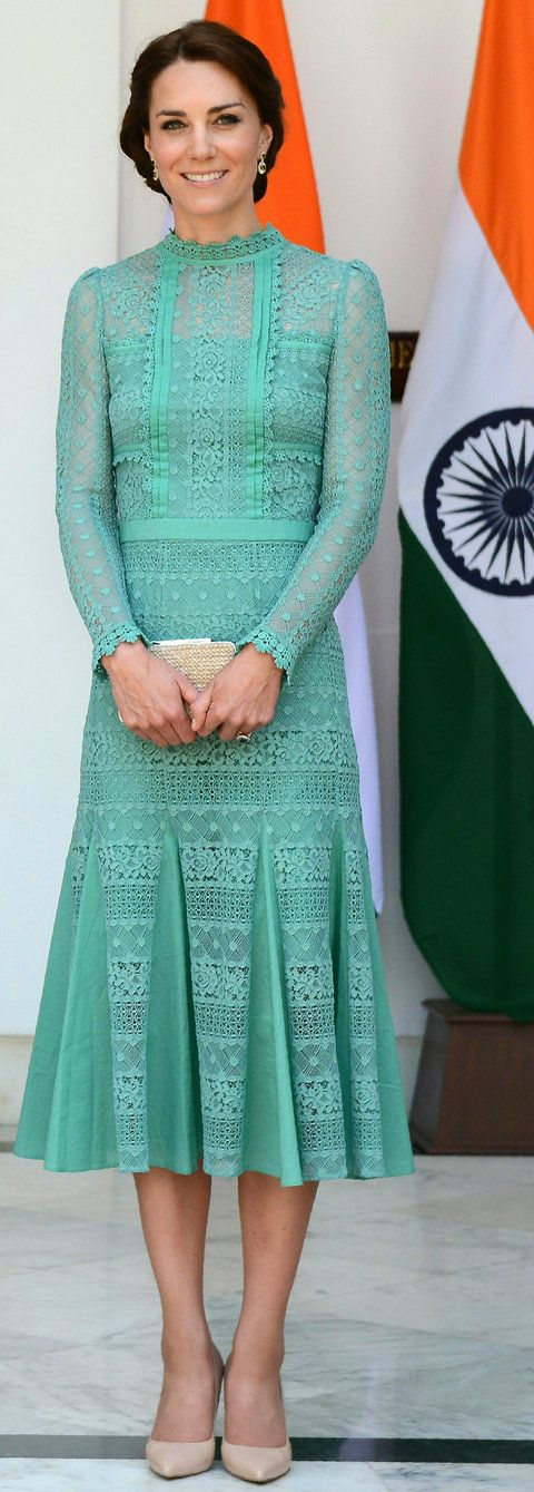 Britain's Catherine, Duchess of Cambridge looks on ahead of a lunch event with India's Prime Minister Narendra Modi at Hyderabad House in New Delhi on April 12, 2016.