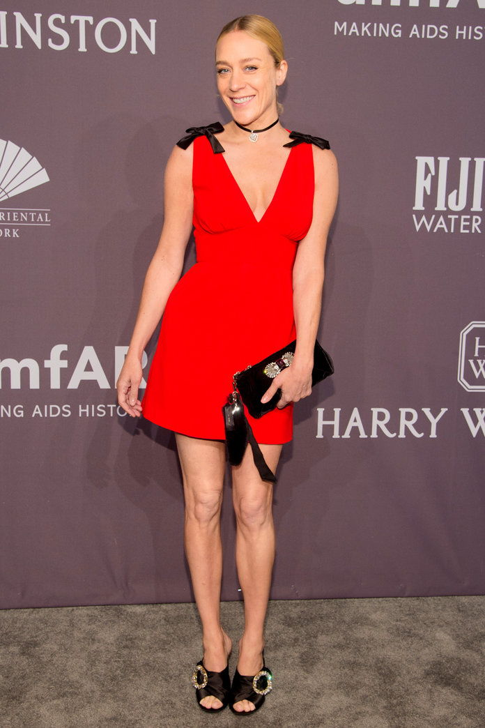 In Miu Miu at the amfAR Gala in N.Y.C., 2017