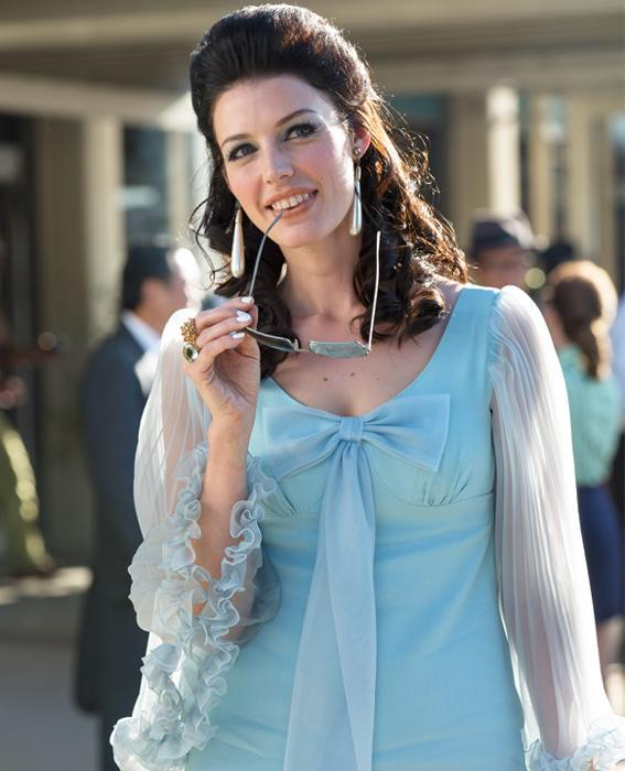 Jessica Pare as Megan Draper in Mad Men wearing blue dress