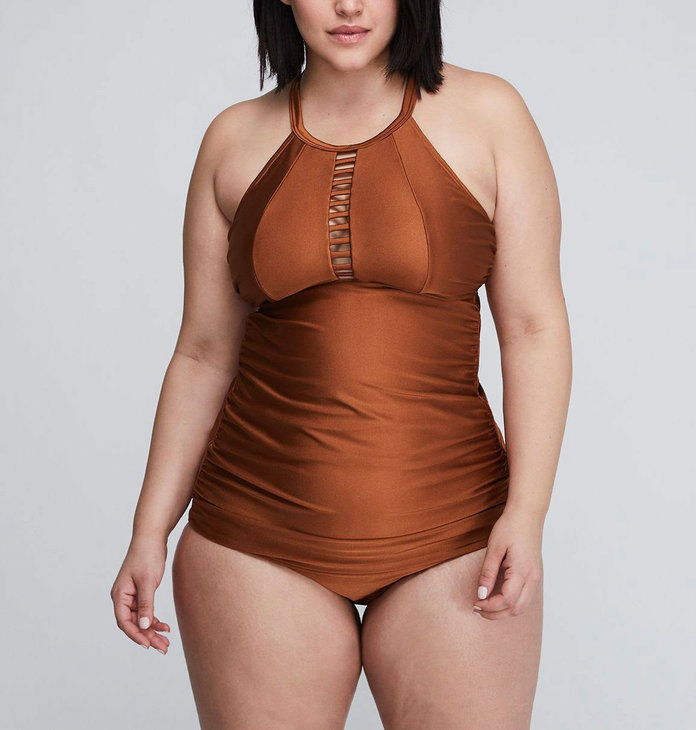Lane Bryant Shimmer Strappy High-Neck Swim Tank and Bottoms