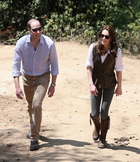 Putera William, Duke of Cambridge and Catherine, Duchess of Cambridge trek up to Tiger's Nest during a visit to Bhutan on the 15th April 2016 in Thimphu, Bhutan. The Royal couple are visiting Bhutan as part of a week long visit to India and Bhutan that ha