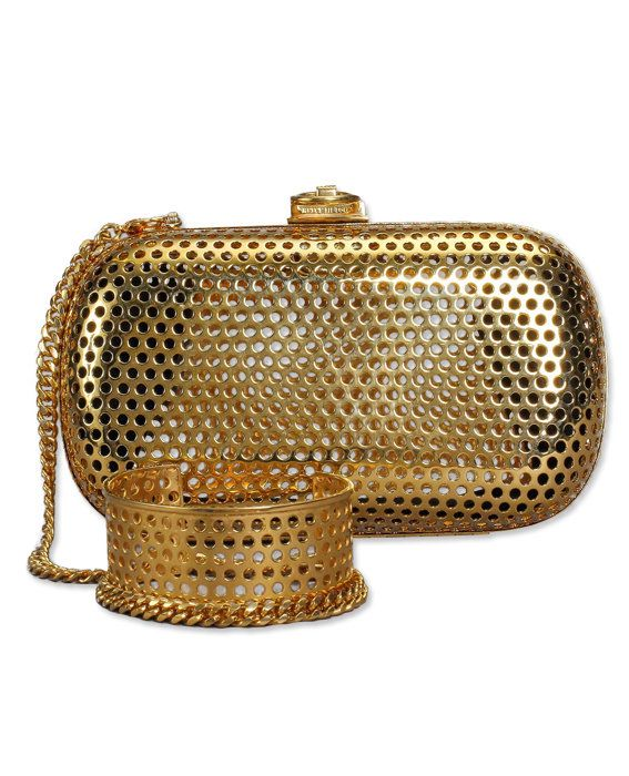 Reese Hudson gold clutch