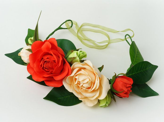 Rosso and Peach Flower Collar with Organza Ribbon