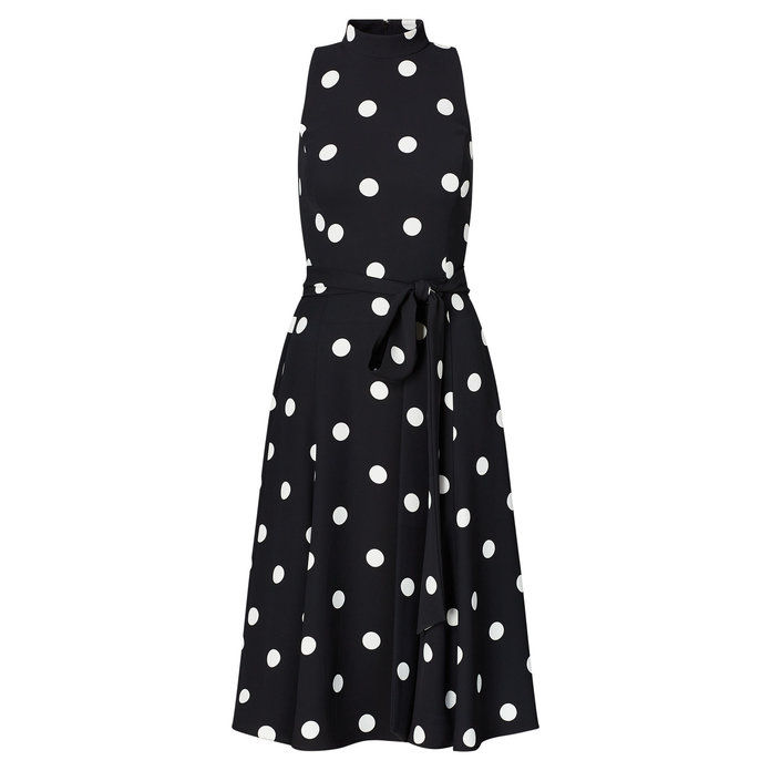 polcă Dot Crepe Midi Dress