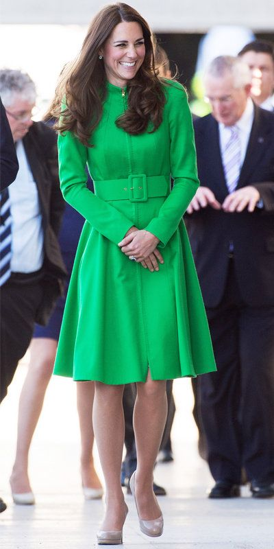 Kate Middleton in green coat and nude heels