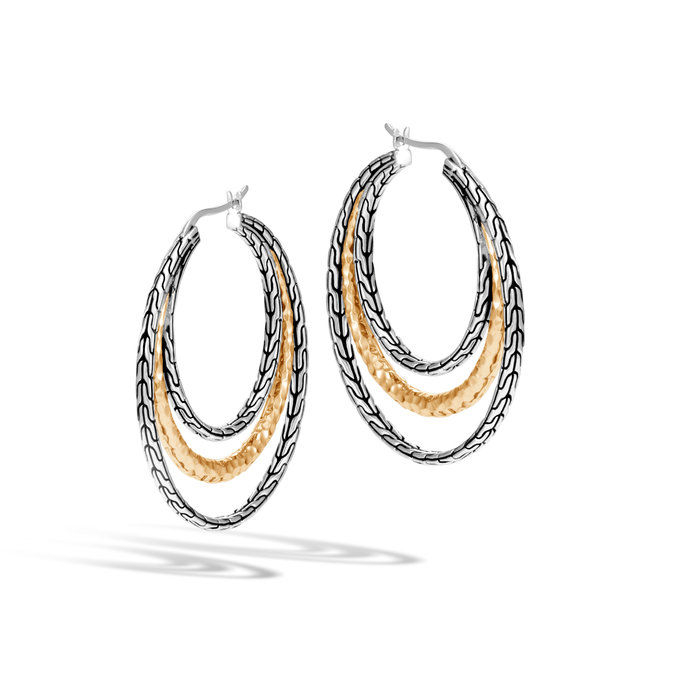 klasický Chain Hammered Medium Hoop Earring