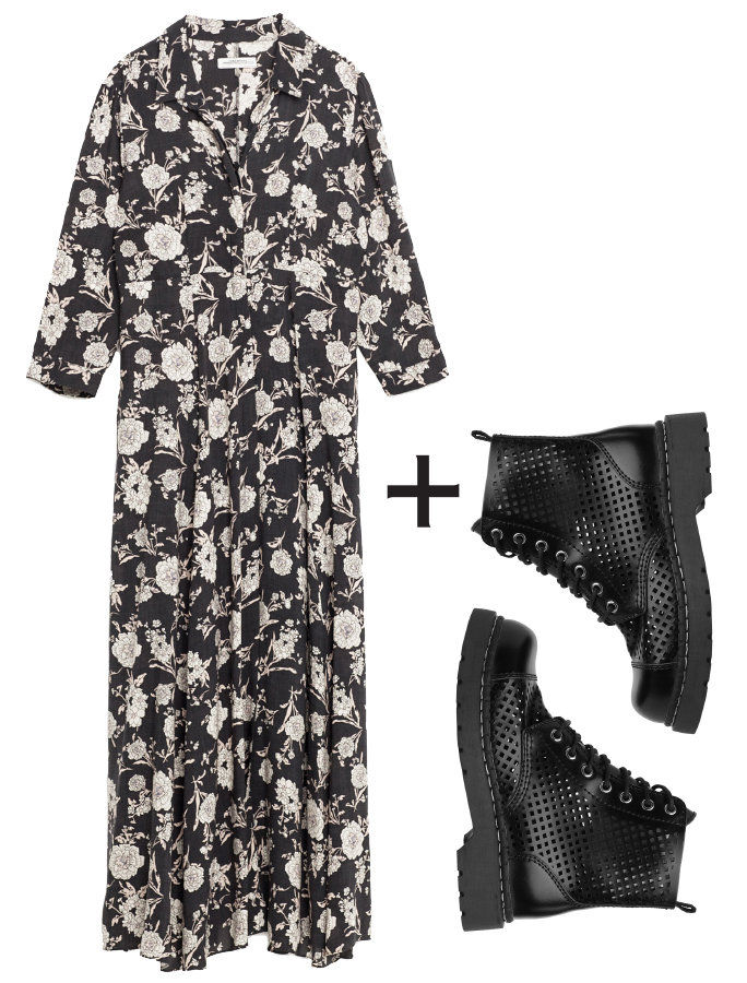 Monochrome Blooms + Perforated Combat Boots