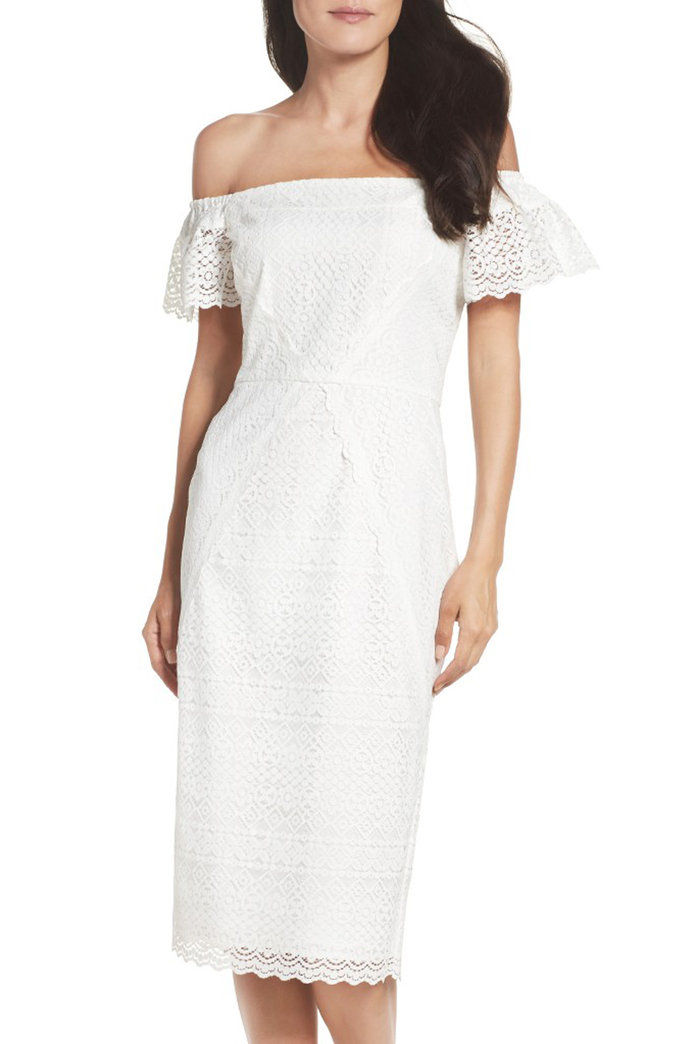 Maggy LONDON Lace Off-The-Shoulder Shift Dress