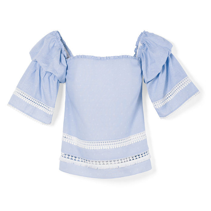 Off-the-Spalla Cotton Dobby Top