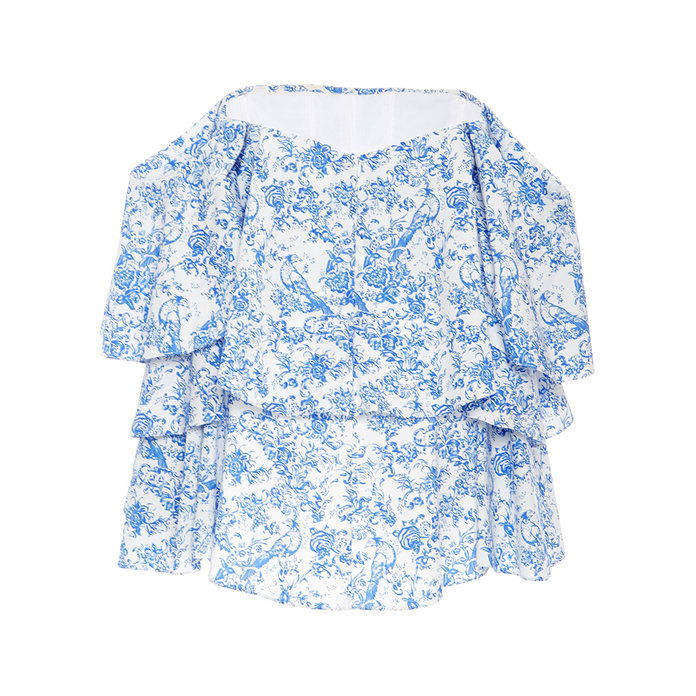 Carmen Printed Ruffle Top