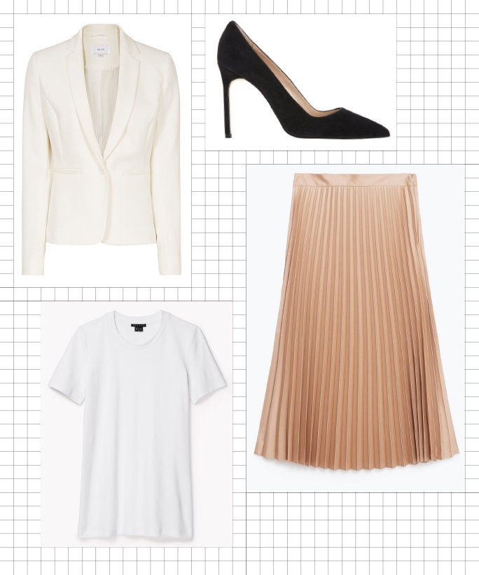 blejzer + Tee + Pleated Midi Skirt + Pumps