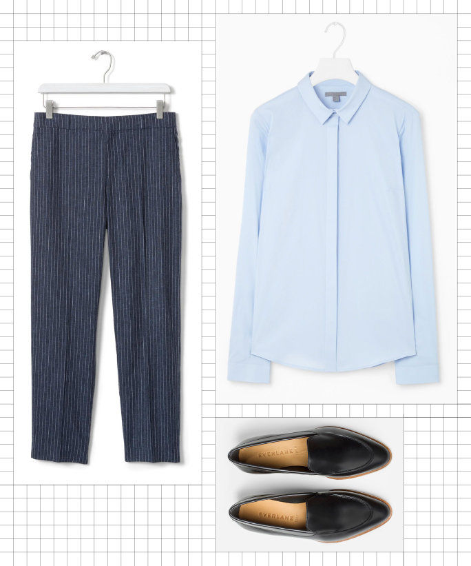 Button-Down + Cropped Pants + Loafers