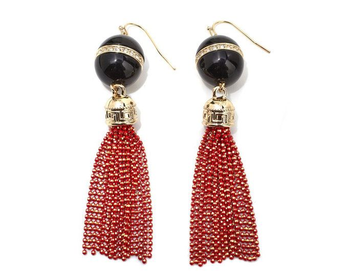 Hitam and Red Goldtone Fringe Drop Earrings
