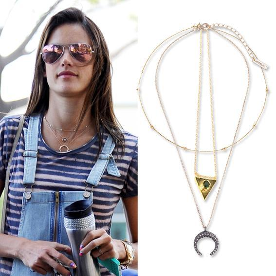 Alessandra Ambrosio wearing Layered Necklaces