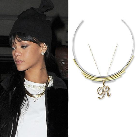 rihanna wearing layered necklaces