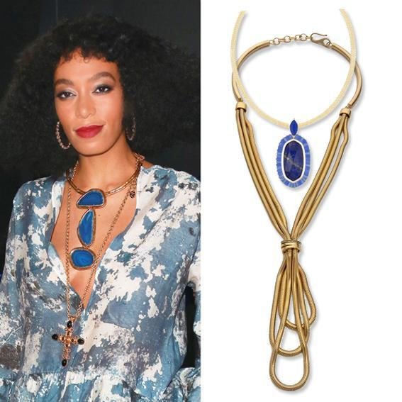 Solange Knowles wearing layered necklaces