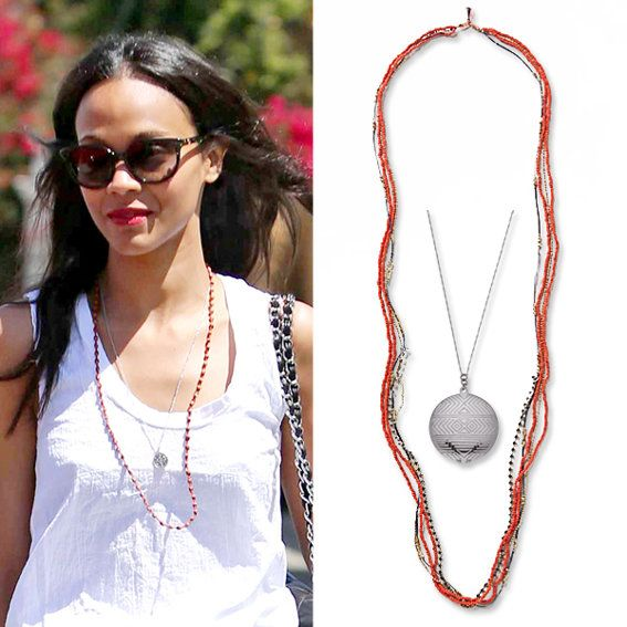 Zoe Saldana wearing layered necklaces