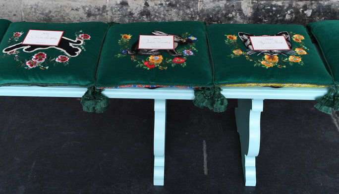 La Were Embroidered Gucci Seat Cushions (That You Got to Take Home)